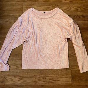 Free People Millenial Pink Velvet Shirt